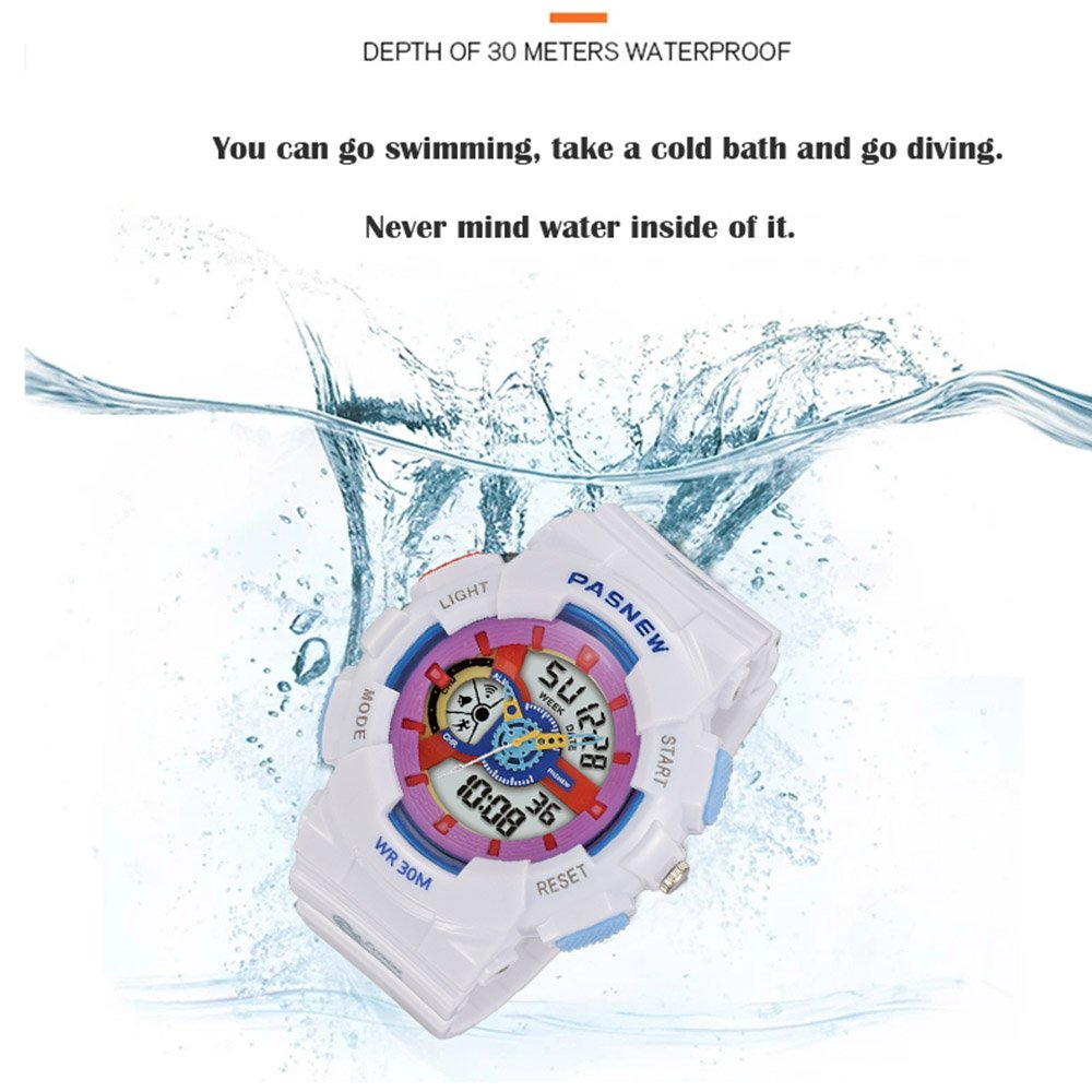 PASNEW Kids Watch Multi Function Digital-Analog Sport Watches for 7-Year Old or Above Children-Pink by PASNEW (Image #5)