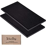 """Bar Mat for Cocktail and Coffee Bar 12"""" x 6"""" Rubber Bar Service Spill Mat for Cocktail Bartender Set of 2 Coffee Bar or Count"""