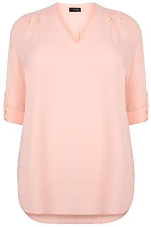 Plus Size Womens Blush V-neck Blouse With Roll Up Sleeves & Pocket Detail Size 24-26 Pink