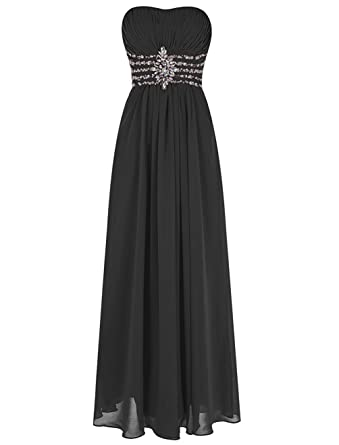 Victoria Prom Womens Strapless Bead Empire Long Chiffon Prom Evening Dress Gown Black us2
