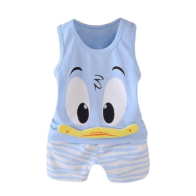QUICKLYLY Ropa Bebe Recien Nacido Verano 2018 Caricatura Camiseta Sin Mangas  Camisa Blusa y Pantalones Cortos dbc681eec6fc8