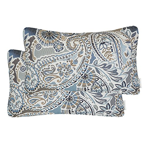Mika Home Pack of 2 Oblong Rectangular Throw Pillow Cover Cushion Cases for Sofa Couch Chair,Paisley Pattern,12x20 Inches,Blue Brown Cream (Blue Rectangular Pillow)
