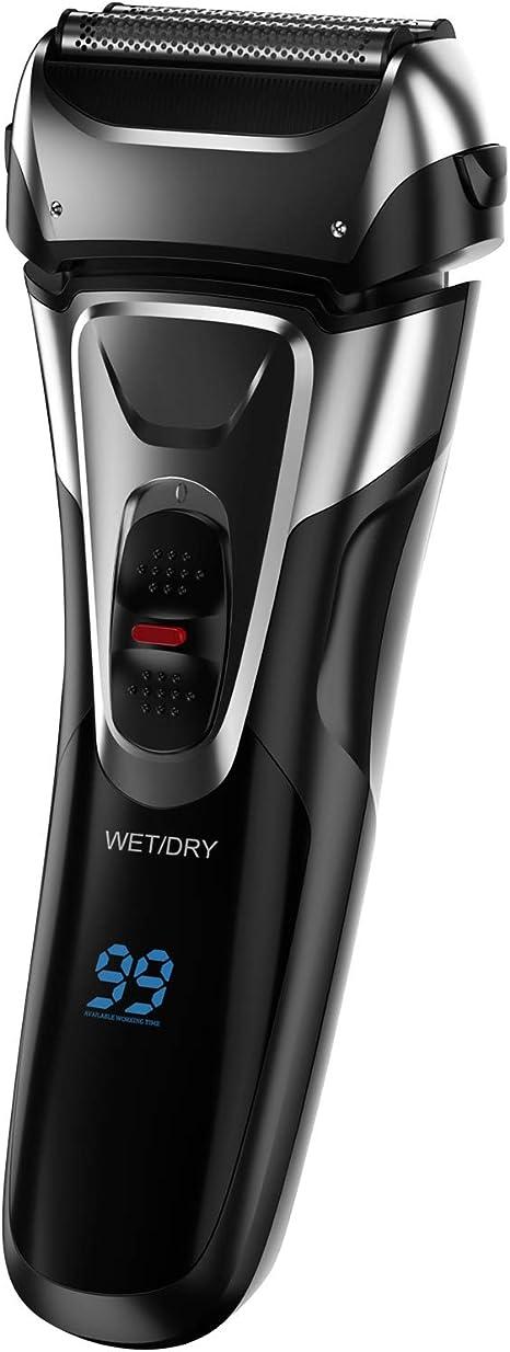 Afeitadora eléctrica para hombres Barba Afeitadora húmeda y seca a prueba de agua Cortadora de barba giratoria eléctrica con pantalla LCD, Negro - Afeitadora eléctrica recargable: Amazon.es: Informática