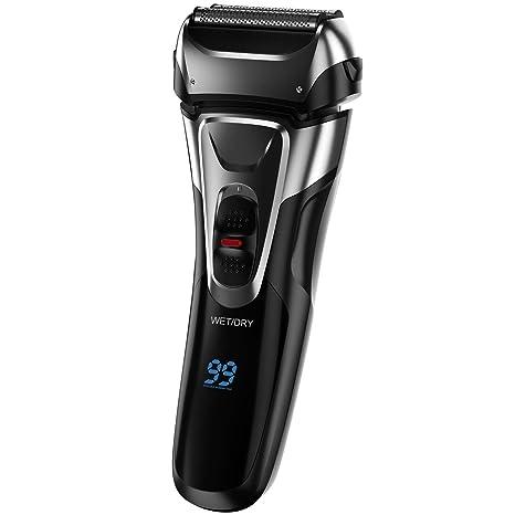 Afeitadora eléctrica para Hombres Barba Afeitadora húmeda y Seca a ...