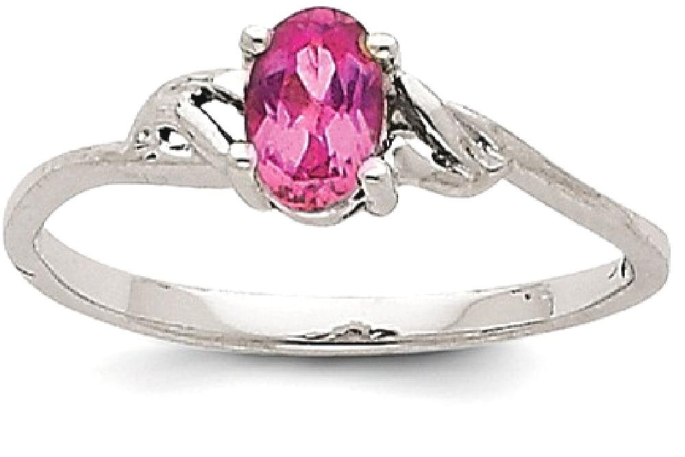 ICE CARATS 14k White Gold Pink Tourmaline Birthstone Band Ring Size 7.00 Stone October Oval Style Fine Jewelry Gift Set For Women Heart by ICE CARATS