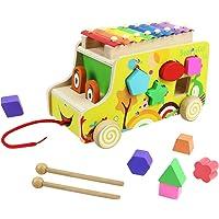 Xilofono Madera Infantil Niños con Autobus de Juguete de Madera Juguete Musical Bebe Juguete Educativo Regalo Niños 18 Meses