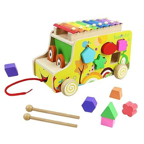 836884f914d59 Xilofono Madera Infantil Niños con Autobus de Juguete de Madera Juguete  Musical Bebe Juguete Educativo Regalo