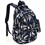 UTO Fashion Backpack Waterproof Nylon Rucksack School College Bookbag Leaves Pattern Shoulder Purse with Pencil Bag Blue