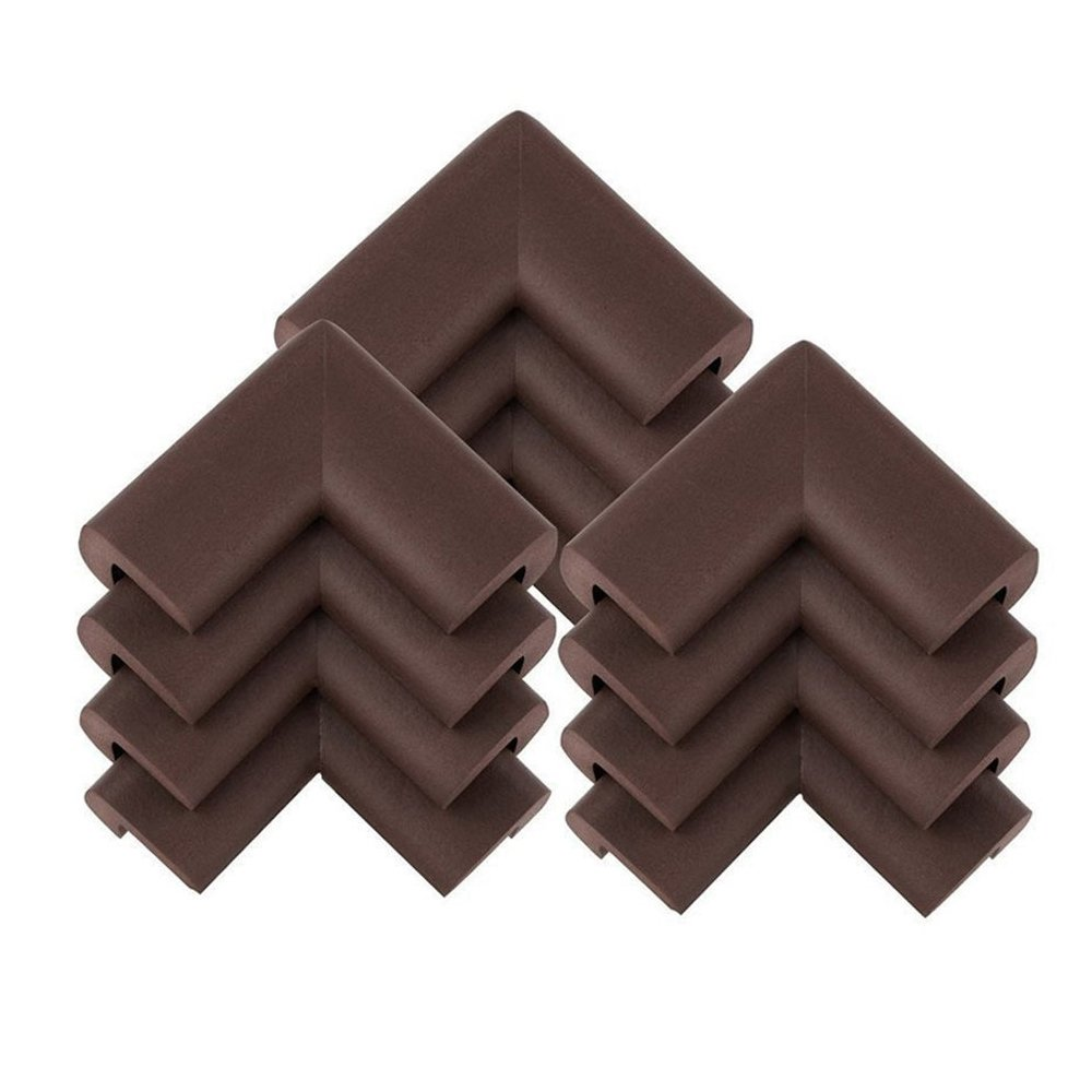 LESCA TEK 12 Pcs Thick Baby Safety Soft Corner Guards Baby Safety Protectors Furniture Corner Bumpers Brown