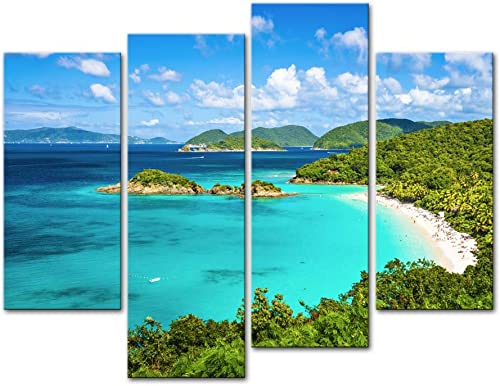 Wall Art Decor Poster Painting On Canvas Print Pictures 4 Pieces Trunk Bay St John Virgin Islands United States Seascape Beach Framed Picture For Home Decoration Living Room Artwork