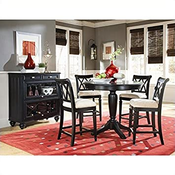 American Drew Camden 5 Piece Round Counter Height Pedestal Table Set