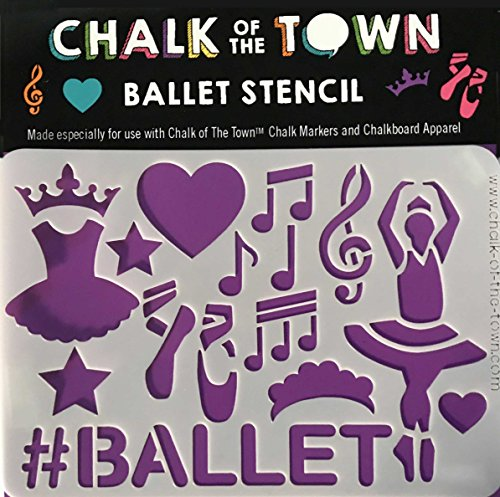 Price comparison product image Chalk of the Town Ballet Washable Stencil for Kids Crafts and Chalkboard T-Shirts