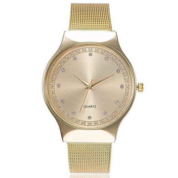 ZXMBIAO Reloj De Pulsera Relojes De Cuarzo De Oro Rosa con Diamantes De Imitación De Moda para Mujer Relojes Casual De Acero Inoxidable para Mujer, ...