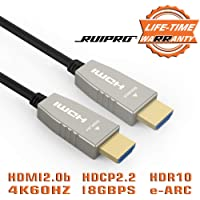 RUIPRO HDMI Fiber Cable 33 feet Light High Speed Support 18.2 Gbps 4K at 60Hz HDMI 2.0 Subsampling 4:4:4/4:2:2/4:2:0 Slim and Flexible With Optic Technology 10m
