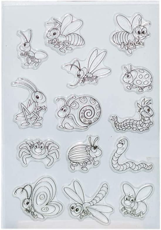 WuLi77 Insect Animal Silicone Silicone Clear Stamps for Card Making Stencils DIY Embossing Photo Album Craft Art Handmade Gift Scrapbooking
