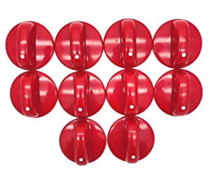 XMHF 10pcs Kitchen Cooktop Round Shape Rotary Switch Knob Universal Red Plastic Gas Range/Stove/Oven Control Knob