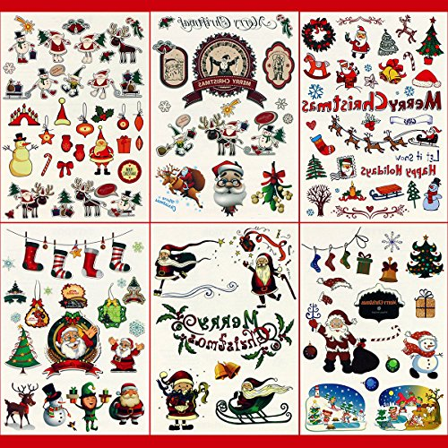 GIFT!!! Tastto 6 Sheets Multi-colored Christmas/ Holiday Temporary Tattoos for Kids Yuletide (Tribal Print Tattoos)