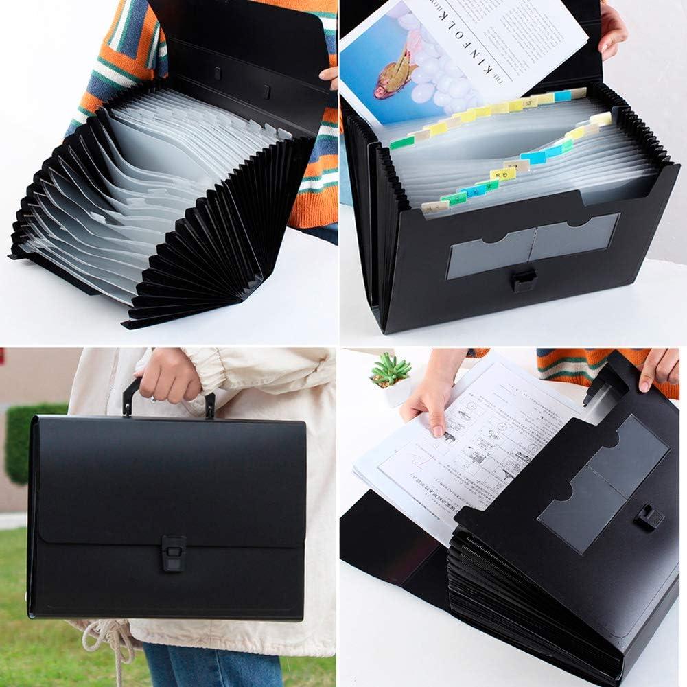 Trieur Extensible A4 avec 2 Pcs Etiquettes et Handle Portable 12 Compartiments Grande capacit/é Organisateur de document Trieur Accord/éon Classeur de Documents Fort Plastique Porte-documents