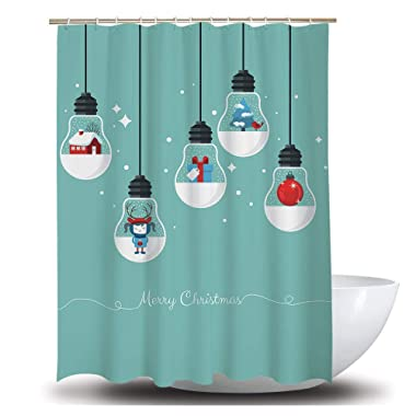 TINGLAN 72x72 Inches Fabric Shower Curtains for Bathroom Christmas Decoration Shower Curtains, Natural Art, Grey White Colorful, 12 Metal Grommets and Hooks (Bulb)
