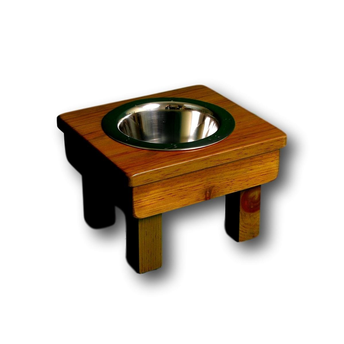Raised Dog Bowl 7'' tall Small. Single Bowl Elevated Pet Feeder Stand. with 1 quart embossed stainless steel bowl. Non-Toxic and Eco-Friendly, by Ozarks Fehr Trade Originals