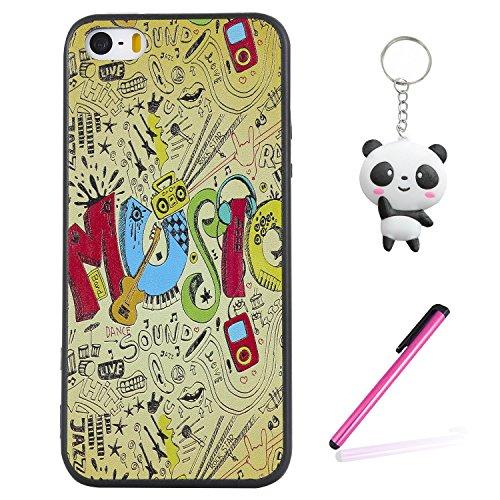 Coque iPhone SE / 5 / 5S 3D Musique dynamique Premium Gel TPU Souple Silicone Protection Housse Arrière Étui Pour Apple iPhone SE / 5 / 5S + Deux cadeau