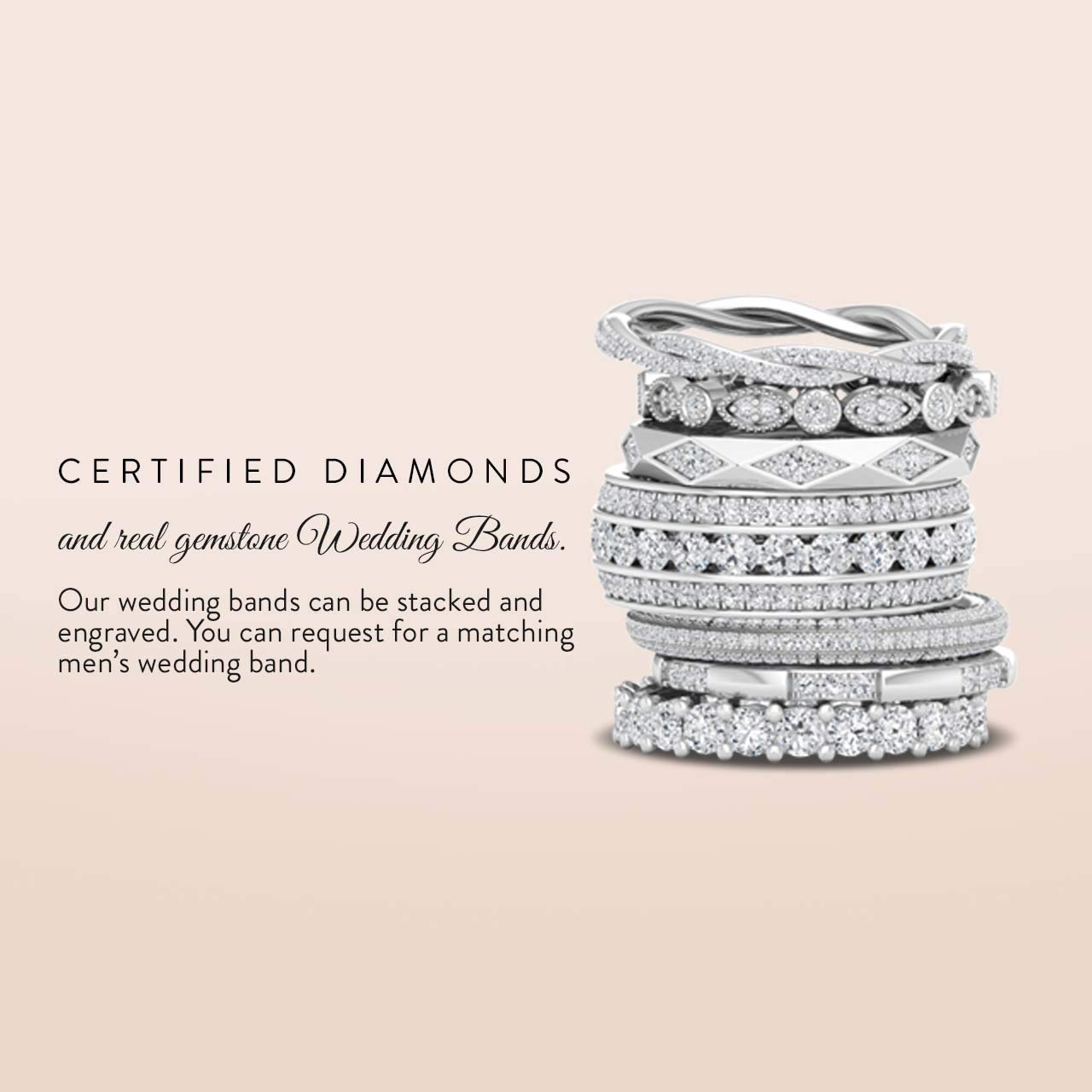 Diamondere Natural and Certified Diamond Wedding Ring in 14K White Gold | 0.79 Carat Full Eternity Stackable Band for Women, US Size 5.5 by Diamondere (Image #6)