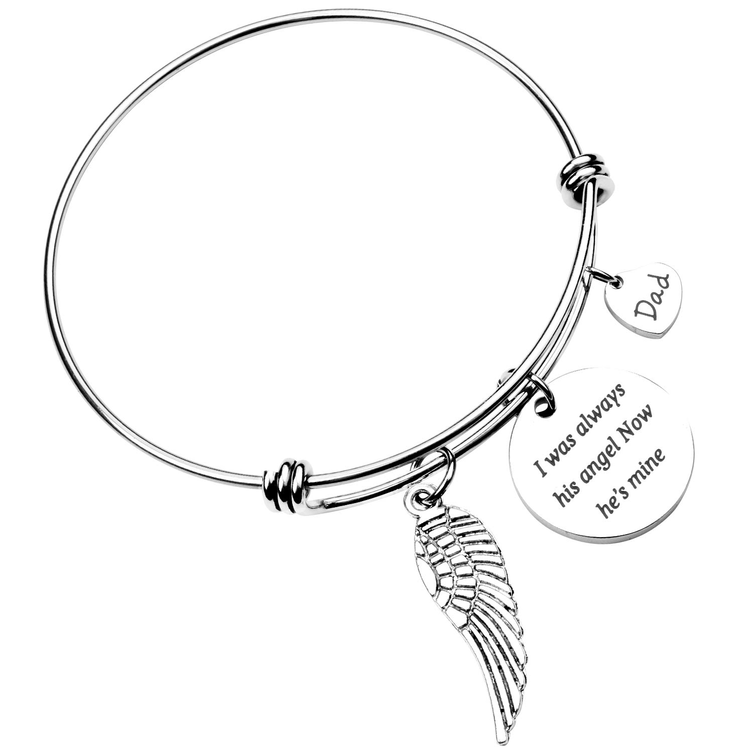 ecobuty Dad Memorial Jewelry Sympathy Gift for Her Angel Wing Jewelry Father Gift Loss of Father Husband Remembrance Jewelry