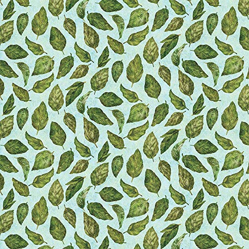 Wilmington Prints Blossom & Blooms Mint Tossed Leaves ()