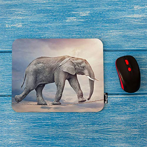 Sublimated Tights (Mugod Elephant Mouse Pad Circus One Huge Wild Elephant Walking on a Dangerous Tightrope Decor Gaming Mouse Pad Rectangle Non-Slip Rubber Mousepad for Computers Laptop 7.9x9.5 Inches)