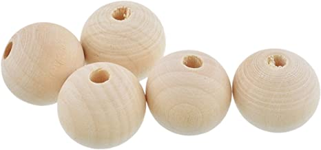 100PCS Natural Color Round Wooden Beads Charm for DIY Craft Making 16mm