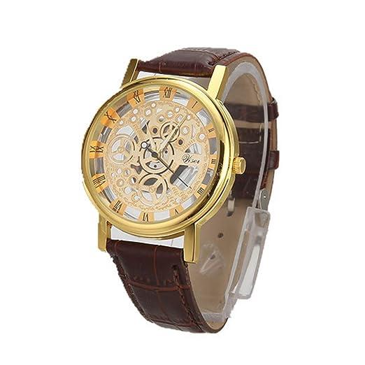 VEHOME Hombres de Lujo de Acero Inoxidable Cuarzo Militar Deporte Cuero Banda Reloj de Pulsera-G-Relojes Inteligentes Cuarzo reloje hombresRelojes de ...