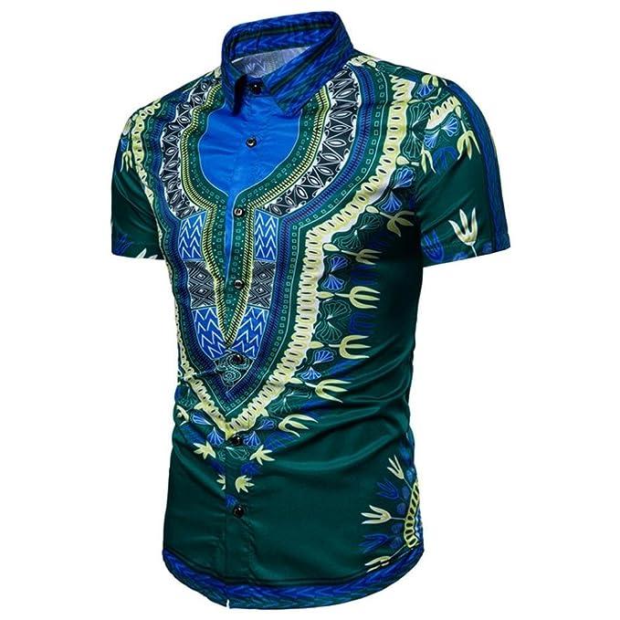 Cinnamou Los hombres Tops de moda adelgazan el cuello en V camiseta estampada del African dashiki