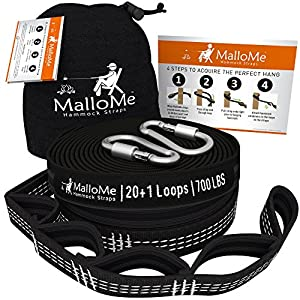 XL Hammock Straps - Hammock Tree Straps Set Versatile 2000+ LBS Heavy Duty 40 Loops & 100% No Stretch Suspension System Kit - Camping Hammock Accessories | 2 Carabiners from MalloMe