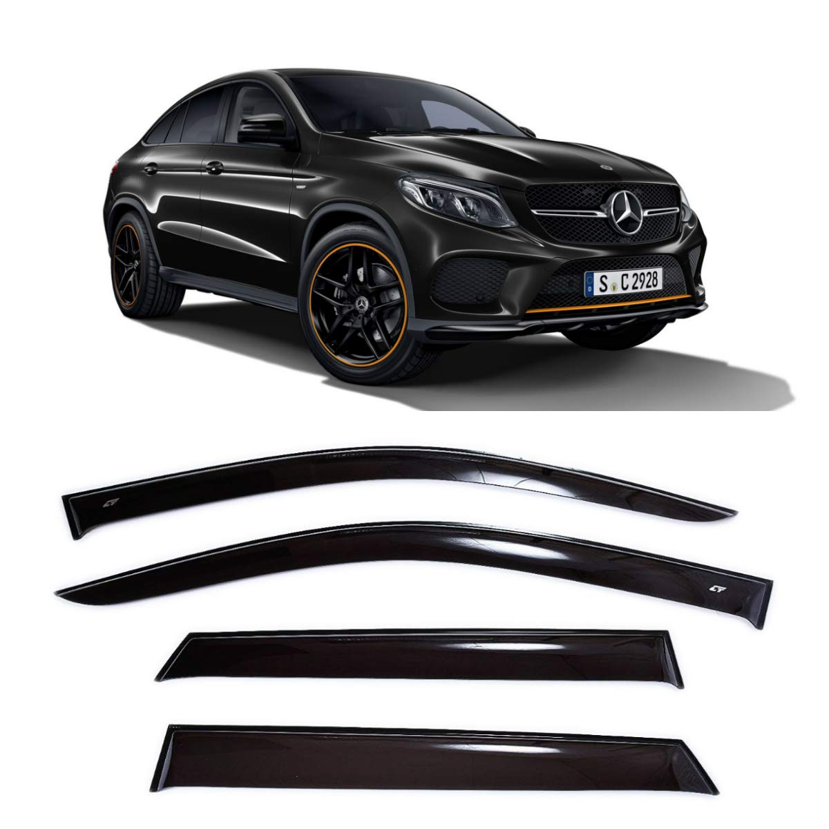 CT Wind Visor Deflectors Set of 4-Piece Car Ventvisor Door Side Window Air Guard Deflectors for Protection Against Snow Sun and Rain Compatible with Mercedes GLE Coupe C292 2015 Dark Smoke