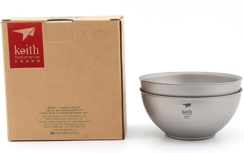 Titane bol plat ultralight à simple paroi Bols assiettes Set Camping Vaisselle