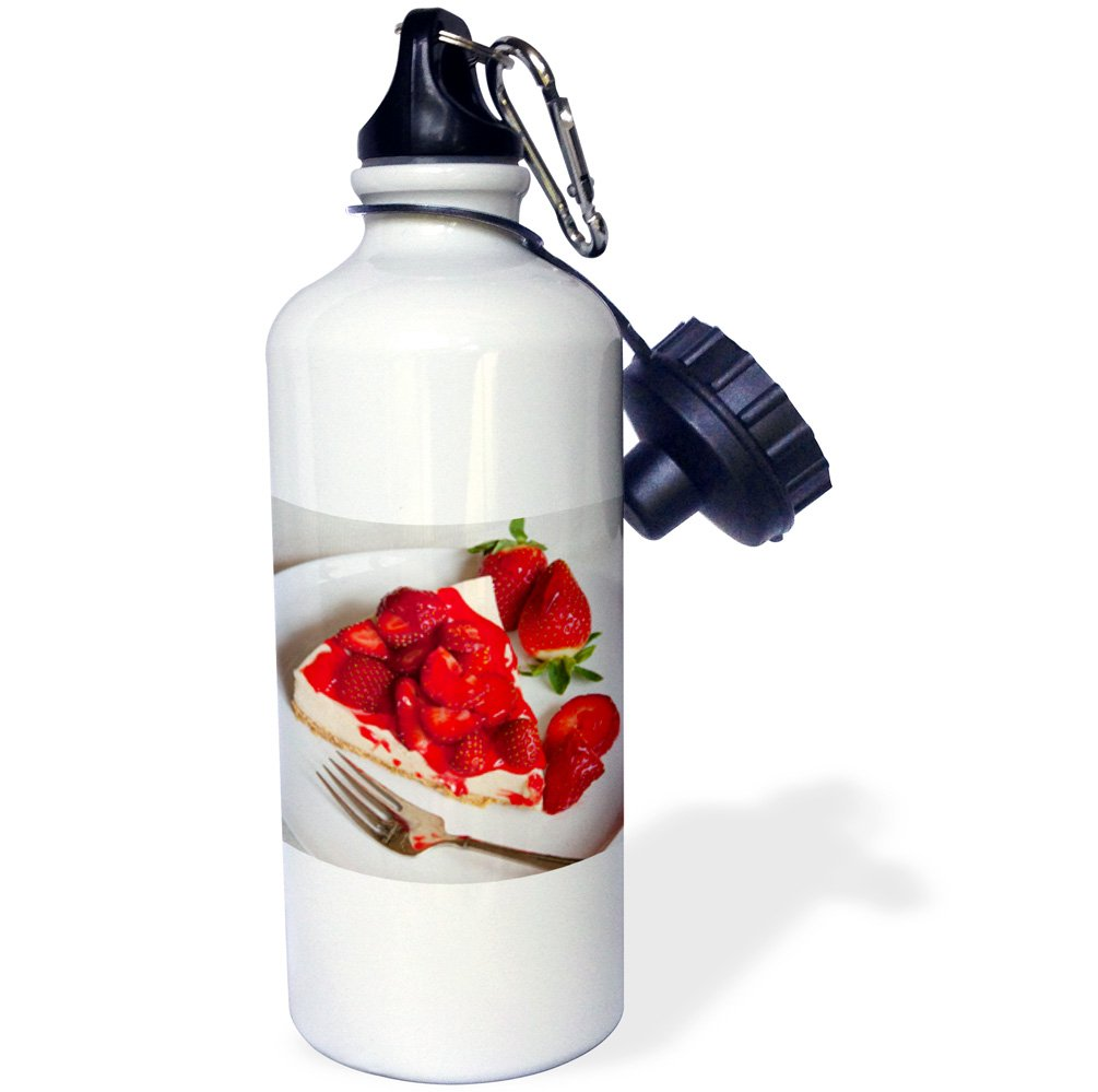 3dRose wb/_146509/_1Strawberry topped Cheesecake 21 oz White Dessert-US43 BJN0005-Brian Jannsen Sports Water Bottle Dessert-US43 BJN0005-Brian Jannsen Sports Water Bottle