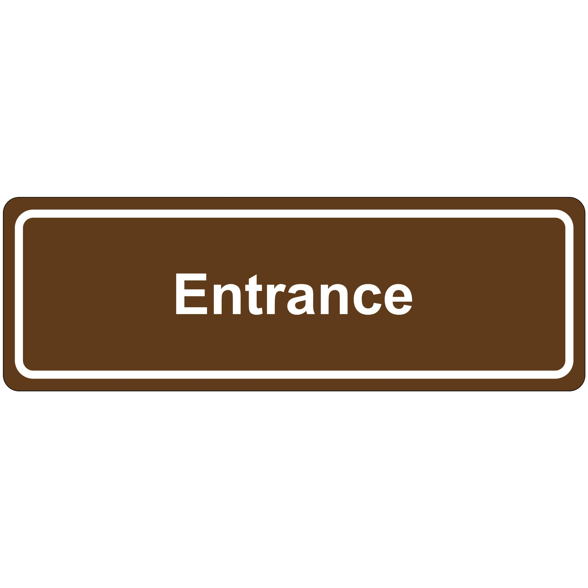 ''Entrance'' Door Sign, 3'' x 9'', Brown, 1/Each