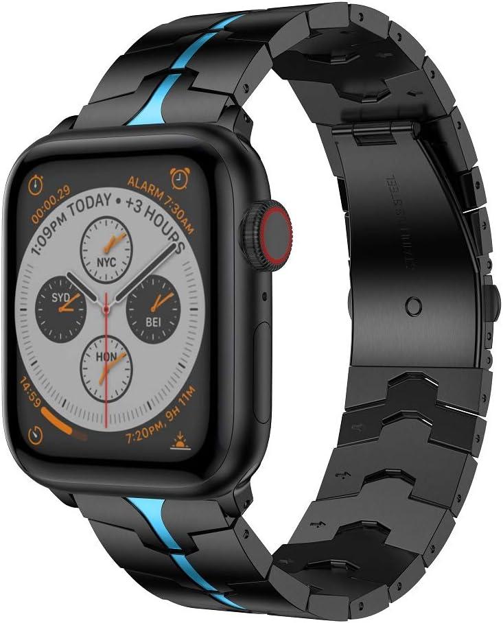 RABUZI Compatible for Apple Watch Band 44mm/42mm,Enamel Process Stainless Steel Metal Watch Replacement Bands Compatible for Apple Watch Series 6/5/4/3/2/1 Smartwatch,Black+Bule Enamel process