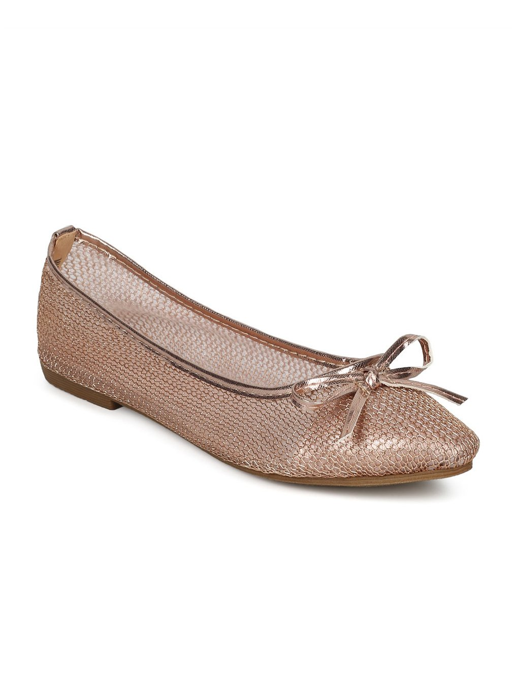 Indulge Dew-1-A Women Mesh Capped Toe Bow Tie Ballet Flat HE04 - Rose Gold Mix Media (Size: 7.0)
