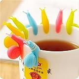 HABI 6 Stück Schnecke Form Silikon Teebeutel Halter Tasse Süßigkeit Farben Geschenk Set Teekocher