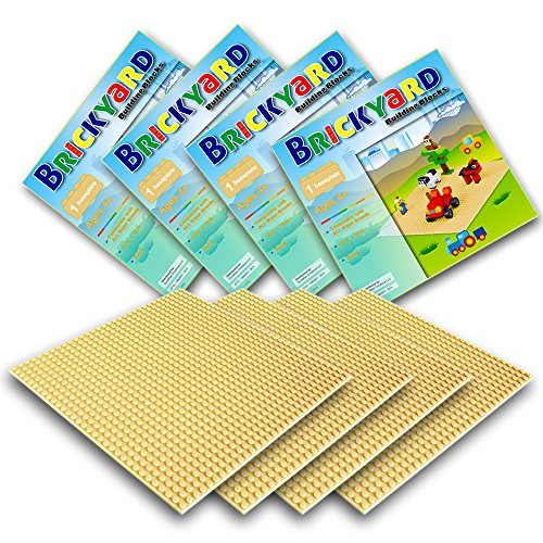 Improved Design  4 Sand Baseplates  10 X 10 Large Thick Base Plates For Building Bricks By Brickyard Building Blocks  For Activity Table Or Displaying Compatible Construction Toys  4 Pack  Sand