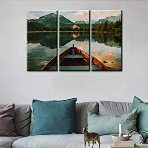 Large 3 Piece Canvas Wall Art for Living Room Boat Blue Lake Clear Water Sunset Picture Modern Nature Canvas Artwork Landscape Contemporary Canvas Art for Home Decorations Office Wall Decor -28''x42''