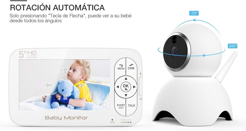 BOIFUN Beb/é Monitor Inteligente con Pantalla LCD de 4.3 Despertador VOX Monitoreo de Temperatura Comunicaci/ón Bidireccional Recargable Visi/ón Nocturna Vigilabeb/és con C/ámara