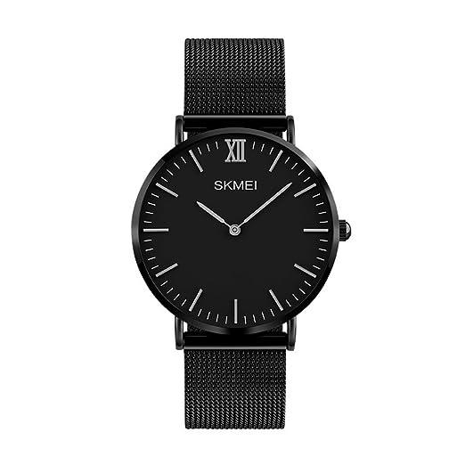 Moda Simple Relojes para Hombre Mujer - Correa de Aleación Ultra-Delgado Dos Punteros Relojes de Pulsera para Señores Señoras, Negro-Plateado-Mujer Grande: ...