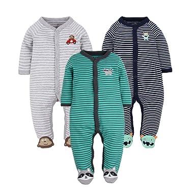 f3485924ea5b Amazon.com  GLMTOU Newborn Baby Footed Pajamas 3-Pack Boys and Girls ...