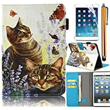 Bonice Case for Samsung Galaxy Tab E 9.6 Slim Colorful Painted Pattern Leather Stand Folio Wallet Case with Card Slots Protective Cover for Tab E 9.6 Inch Tablet (SM-T560 / T561 / T565 & SM-T567V Verizon 4G LTE Version) - Cat & Butterfly