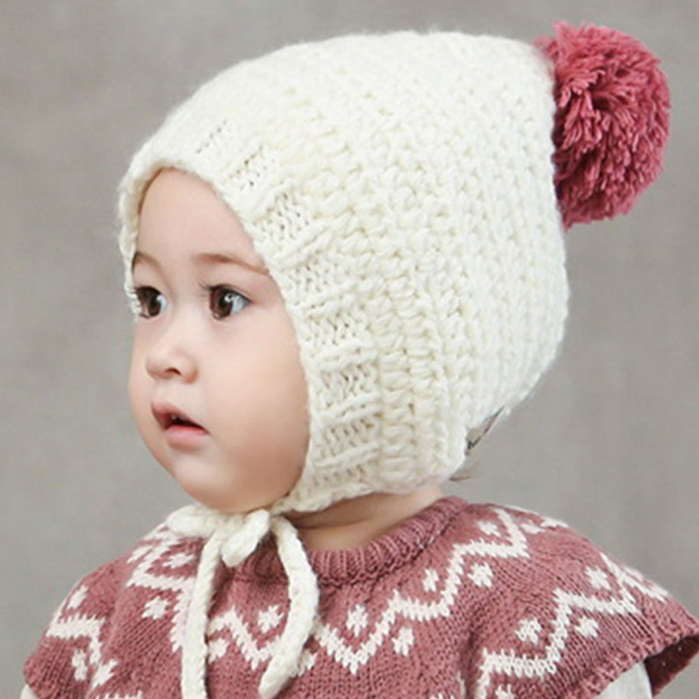 CHUANGLI Cute Toddler Ear Flap Beanie Unisex Children Winter Pom Pom Hat Cutest Earflap Hood Hat