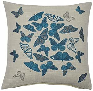 "COLOURFUL BUTTERFLY TEAL BEIGE THICK EMBROIDERED PILLOW CUSHION COVER 17"" - 43CM #MLA"
