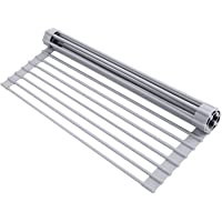 """Ohuhu Dish Drying Rack, Roll Up Sink Drying Rack, 17""""Lx 13""""W, Over Sink Dish Rack, Foldable Multi-Use Silicone Coated…"""