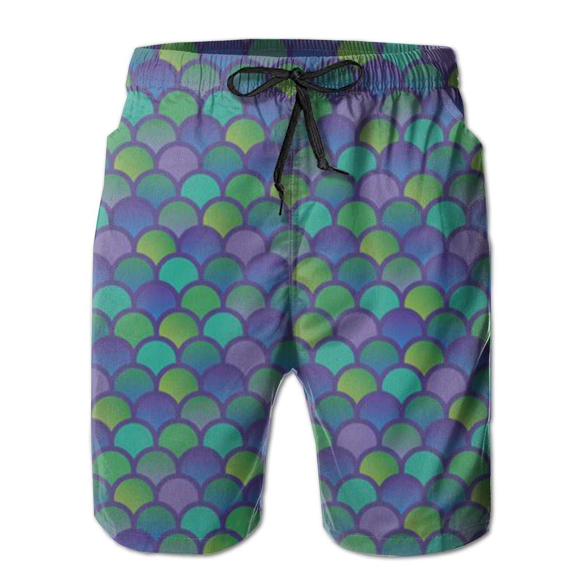 MikonsuRainbow Fish Scales Pattern Mens Colorful Swim Trunks Beach Board Shorts with Lining